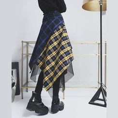 Sonne - Mesh-Hem Color-Block Plaid Asymmetric Skirt