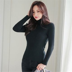 Babi n Pumkin - Turtle-Neck Rib Knit Top