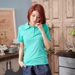 RingBear - 兩側抓皺顯瘦素面休閒馬球衫