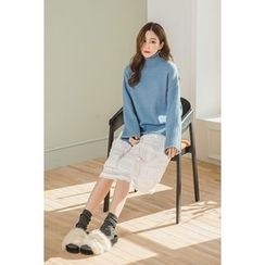 migunstyle - Turtle-Neck Loose-Fit Knit Top