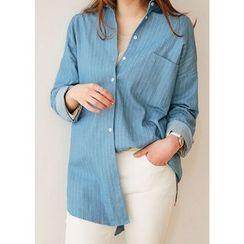 J-ANN - Pocket-Front Striped Shirt