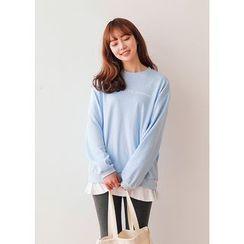 J-ANN - Layered-Hem Lettering Sweatshirt