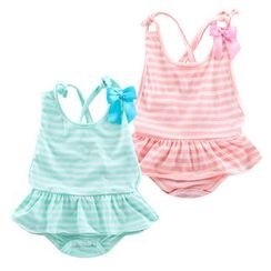 Madou - Baby Striped Bow-Accent Bodysuit