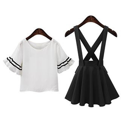 AGA - Set: Contrast Trim Short Sleeve T-Shirt + Suspender A-Line Skirt
