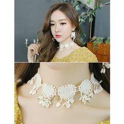 soo n soo - Faux-Pearl Embellished Lace Choker