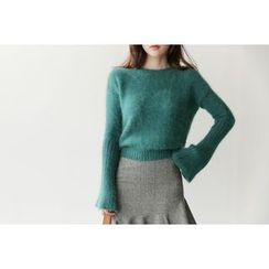 UPTOWNHOLIC - Bell-Sleeve Wool Blend Knit Top