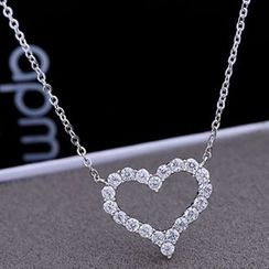 Nanazi Jewelry - Rhinestone Heart Sterling Silver Necklace