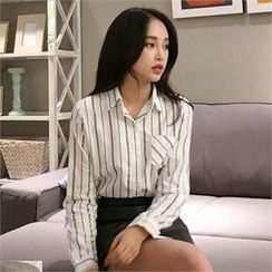 QNIGIRLS - Pocket-Front Stripe Shirt