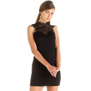 YesStyle Dress - Lace Bib Tie-Neck Dress