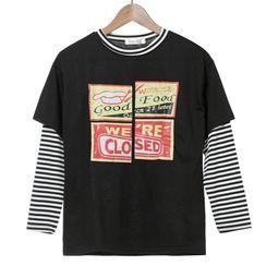 Melon Juice - Mock Two Piece Print Striped Panel Long Sleeve T-Shirt