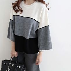 DAILY LOOK - 3/4-Sleeve Color-Block Knit Top
