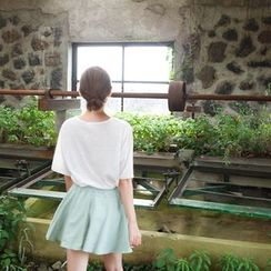 mimi&didi - Inset Shorts Pocket-Side Mini Flare Skirt