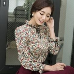 ode' - Frilled-Neckline Floral-Patterned Corduroy Top