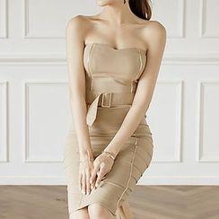ISMY - 套装: 抹胸塑身连衣裙配皮带 + 短款外套