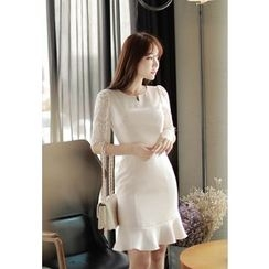 MyFiona - Lace-Sleeve Ruffled Sheath Dress