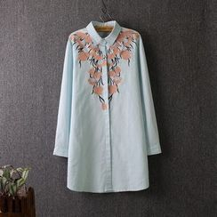 Blue Rose - Floral Embroidered Long Shirt