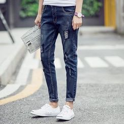 JVR - 做舊修身牛仔褲