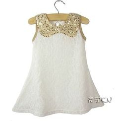 Cuckoo - Kids Sequined Collar Lace Dress