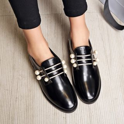 JY Shoes - Faux Pearl Detail Loafers