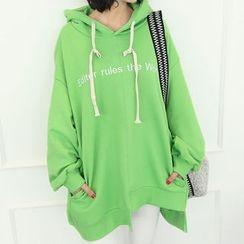 DANI LOVE - Hooded Letter Embroidered Oversized Pullover