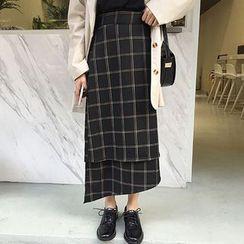 Cloud Nine - Check Asymmetric Midi Skirt