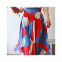 LEELIN - Patterned Maxi Skirt