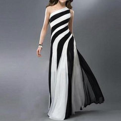 Katemi - Two Tone One Shoulder A-line Evening Gown