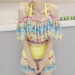 Sewwi - Set: Floral Print Frill Trim Bikini Top + Swimskirt + Cover-Up Top