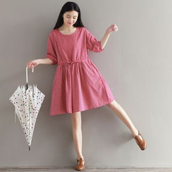 Viana Smile - Maternity Elbow-Sleeve Tie Waist Dress