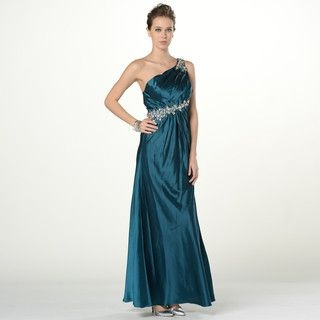 YesStyle Z - One-Shoulder Jeweled A-Line Evening Gown with Scarf