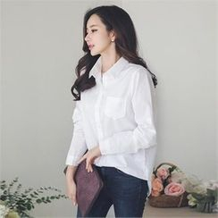 ode' - Tab-Sleeve Pocket-Front Shirt