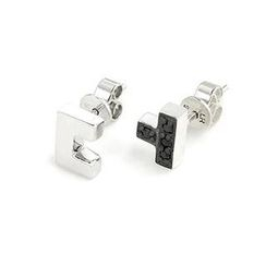 MBLife.com - Left Right Accessory - 925 Sterling Silver Tetris Perfect Match Stud Earrings (Couple Pair) Fashion Jewelry