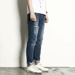 Rememberclick - Cut-Off Detailed Skinny Jeans