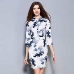 Cherry Dress - Elbow-Sleeve Print Sheath Dress