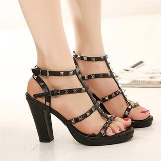 X Times - Studded Strappy Heel Sandals
