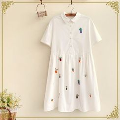 Fairyland - Embroidered Short-Sleeve Collared Dress