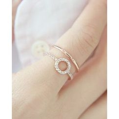 Miss21 Korea - Rhinestone Tiered Open Ring