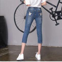 Denimot - Distressed Capri Skinny Jeans