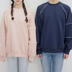 Seoul Homme - Couple Embroidered Loose-Fit Sweatshirt