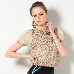 YesStyle Z - Contrast Sleeve Orange Print Chiffon Top