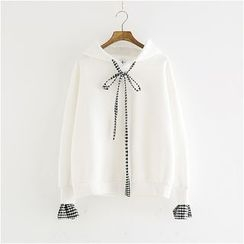 Storyland - Tie-Neck Gingham-Cuff Hooded Pullover