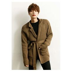 HOTBOOM - Tie-Front Ribbed Cardigan