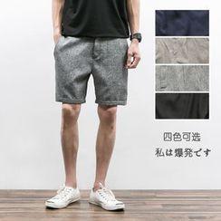 Chuoku - Plain Linen Blend Shorts