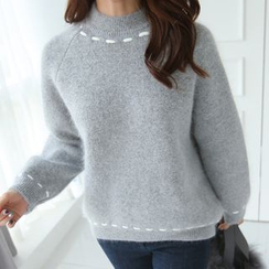 CLICK - Wool Blend Furry-Knit Sweater