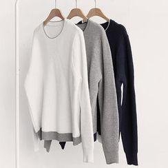 NIPONJJUYA - Contrast-Trim Knit Top