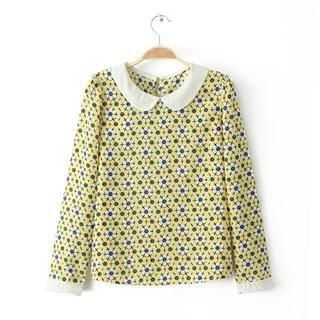 Flower Idea - Peter Pan-Collar Patterned Blouse