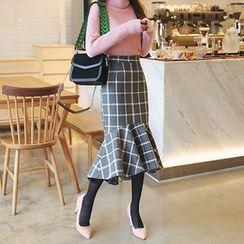 DABAGIRL - Plaid Wool Blend Mini Mermaid Skirt