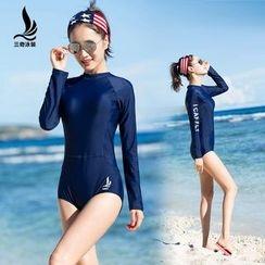 SANQI - Letter Long-Sleeve Swimsuit