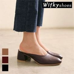 Wifky - Faux-Leather Chunky-Heel Mules