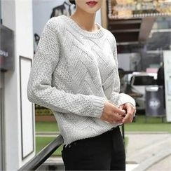 CHICFOX - Round-Neck Drop-Shoulder Sweater